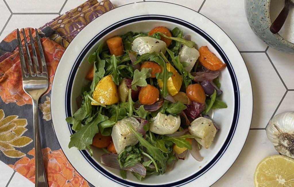 Rainbow Roots Arugula Salad